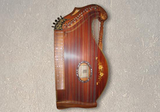 Harfenzithern, 42-saitig, Zwetschge mit Intarsie