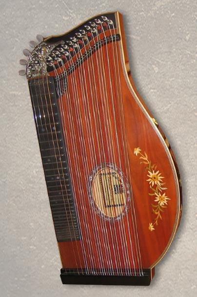 Kinderzither und Schülerzither 32-saitige Konzertzither Mensur 43 cm oder 40,5 cm Zwetschge furniert mit Intarsie